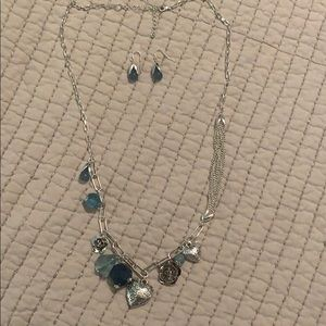 Jewelry - Silver & Aqua Charm Necklace w/ matching earrings